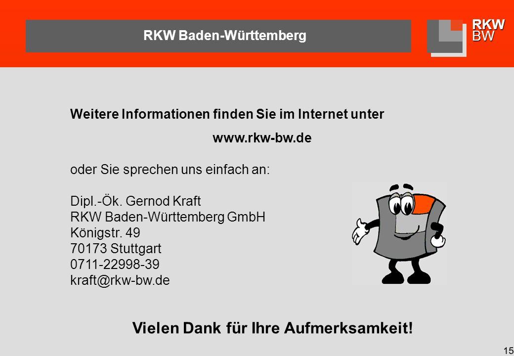 RKWBW 15 RKW Baden-Württemberg Vielen Dank für Ihre Aufmerksamkeit.
