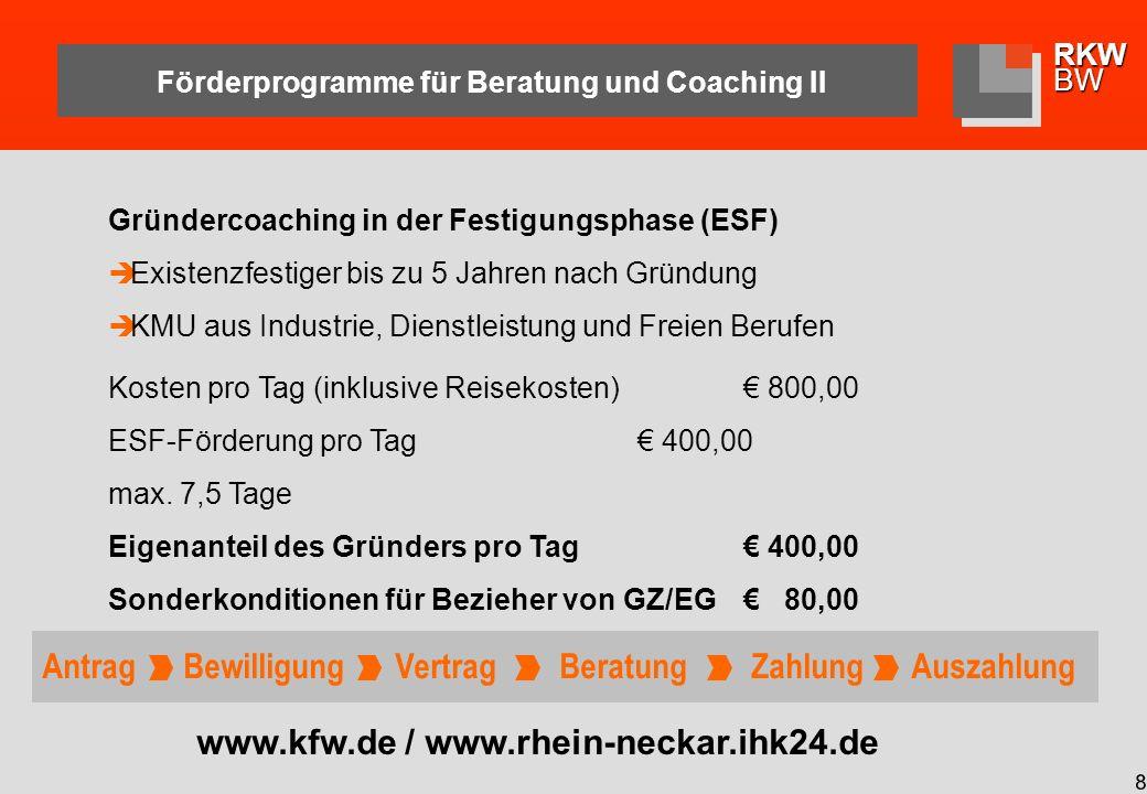 RKWBW 9 Förderprogramme für Beratung und Coaching III www.rkw-bw.de Kurzberatung und Exportberatung (Land) Unternehmen bis max.