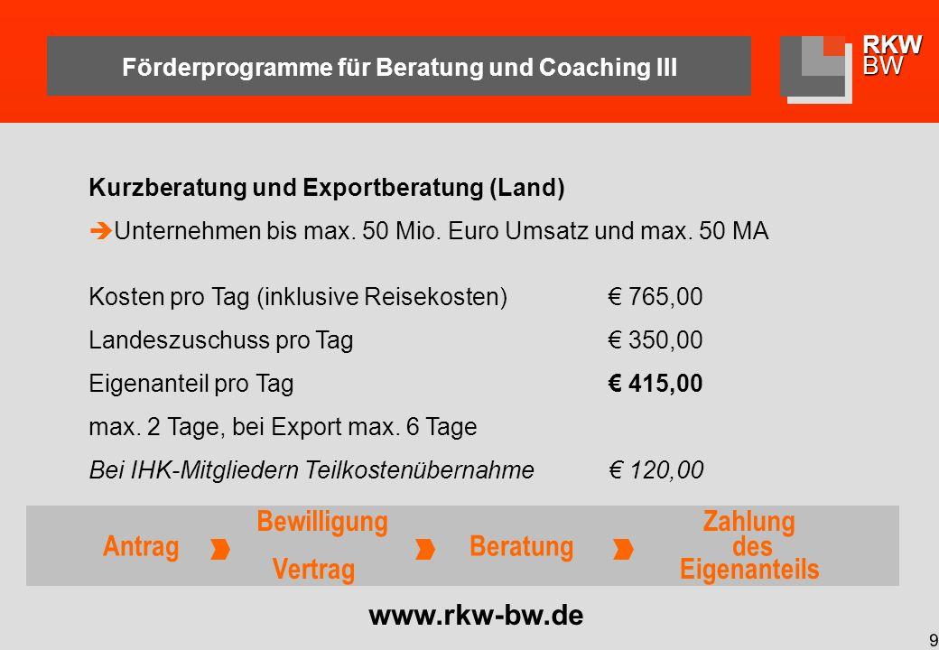 RKWBW 10 Förderprogramme für Beratung und Coaching IV Landesprogramm Coaching (ESF) Unternehmen bis max.