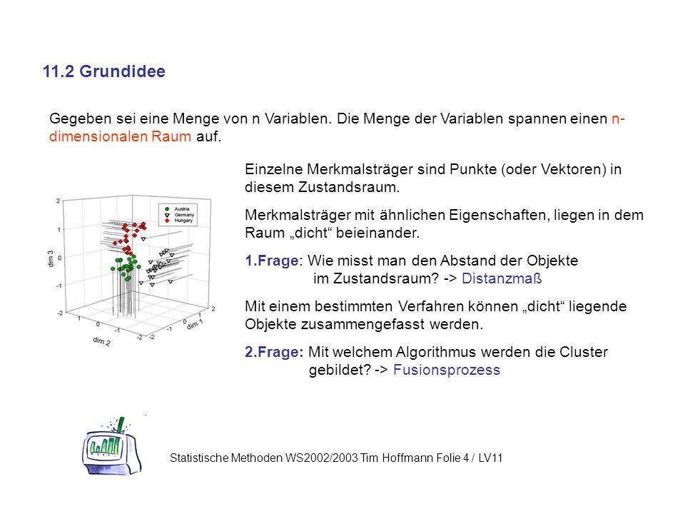 11.2 Grundidee Statistische Methoden WS2002/2003 Tim Hoffmann Folie 4 / LV11 Gegeben sei eine Menge von n Variablen.