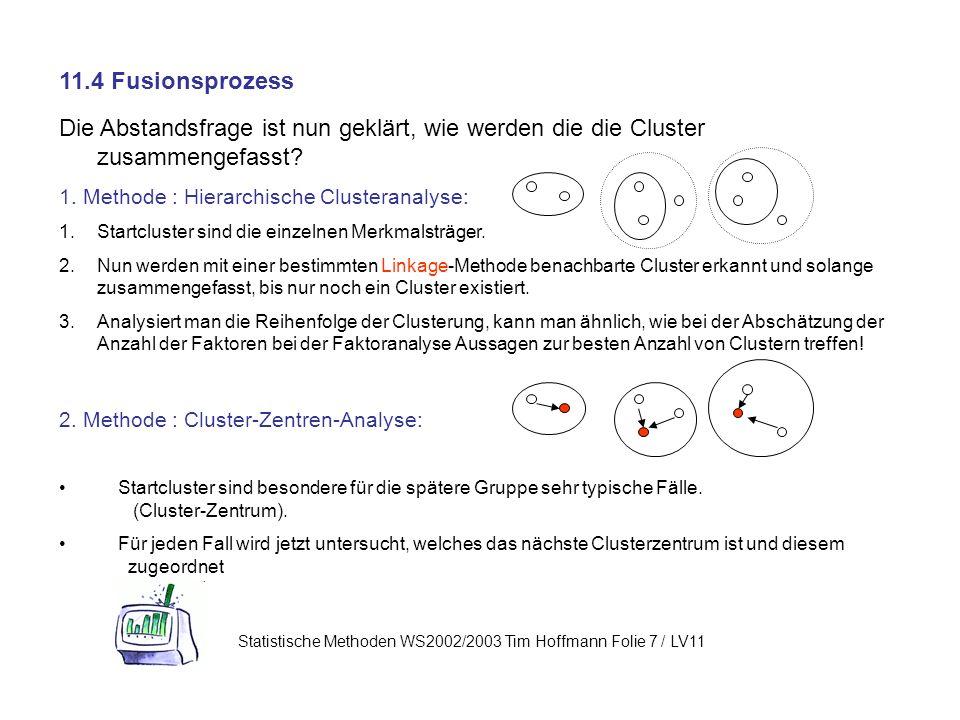 11.4 Fusionsprozess Die Abstandsfrage ist nun geklärt, wie werden die die Cluster zusammengefasst.