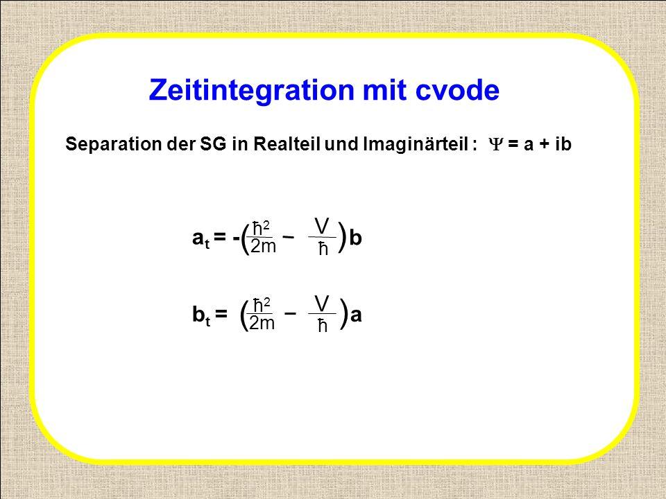 Zeitintegration mit cvode Separation der SG in Realteil und Imaginärteil : = a + ib a t = - b t = ћ2ћ2 ћ2ћ2 ( ( 2m ћ V V ћ ) ) b a