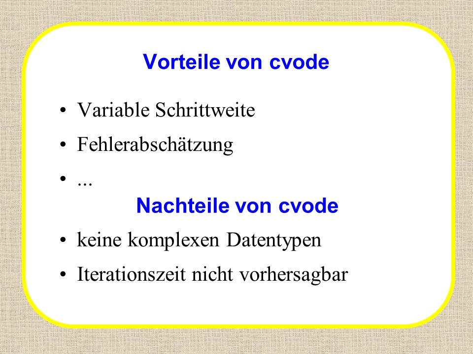 Vorteile von cvode Variable Schrittweite Fehlerabschätzung... Nachteile von cvode keine komplexen Datentypen Iterationszeit nicht vorhersagbar