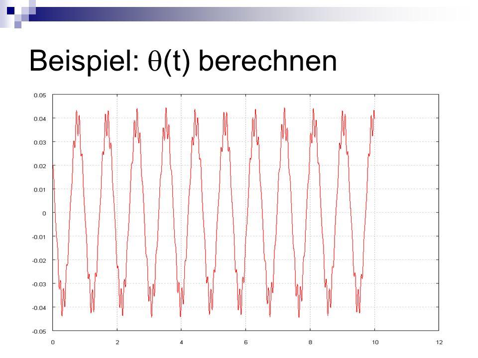 Ablauf: (A, ) bestimmen Programm mit gewünschten Parametern aufrufen Schleifen für die Wertebereiche von A und werden durchlaufen Integration von t = 0 bis t = 10 s für jedes (A, )-Wertepaar (CVSPGMR mit Adams- Methode)