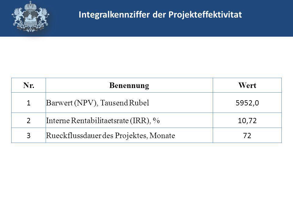Integralkennziffer der Projekteffektivitat Nr.BenennungWert 1 Barwert (NPV), Tausend Rubel 5952,0 2 Interne Rentabilitaetsrate (IRR), % 10,72 3 Rueckflussdauer des Projektes, Monate 72