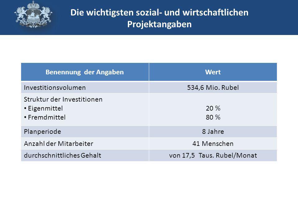 Benennung der AngabenWert Investitionsvolumen534,6 Mio.