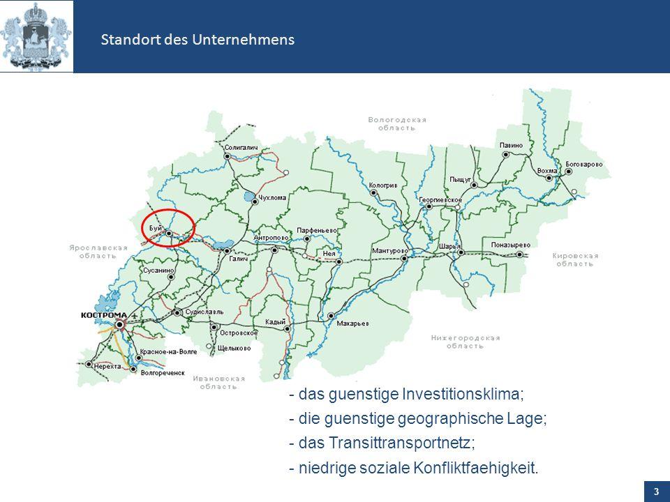 - das guenstige Investitionsklima; - die guenstige geographische Lage; - das Transittransportnetz; - niedrige soziale Konfliktfaehigkeit.