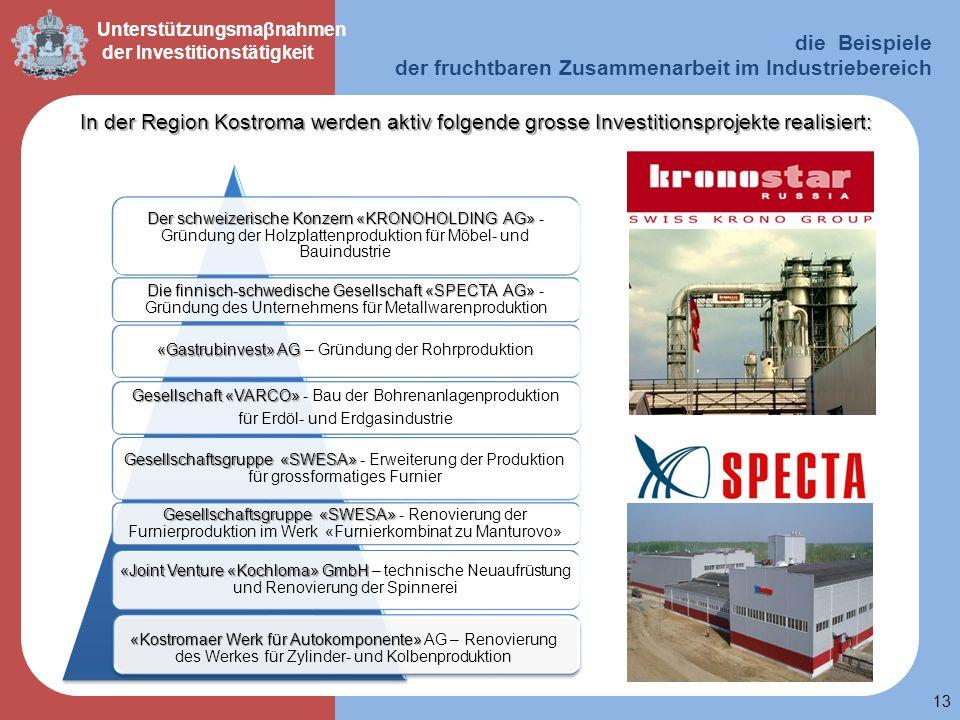 13 Unterstützungsmaβnahmen der Investitionstätigkeit In der Region Kostroma werden aktiv folgende grosse Investitionsprojekte realisiert: die Beispiel