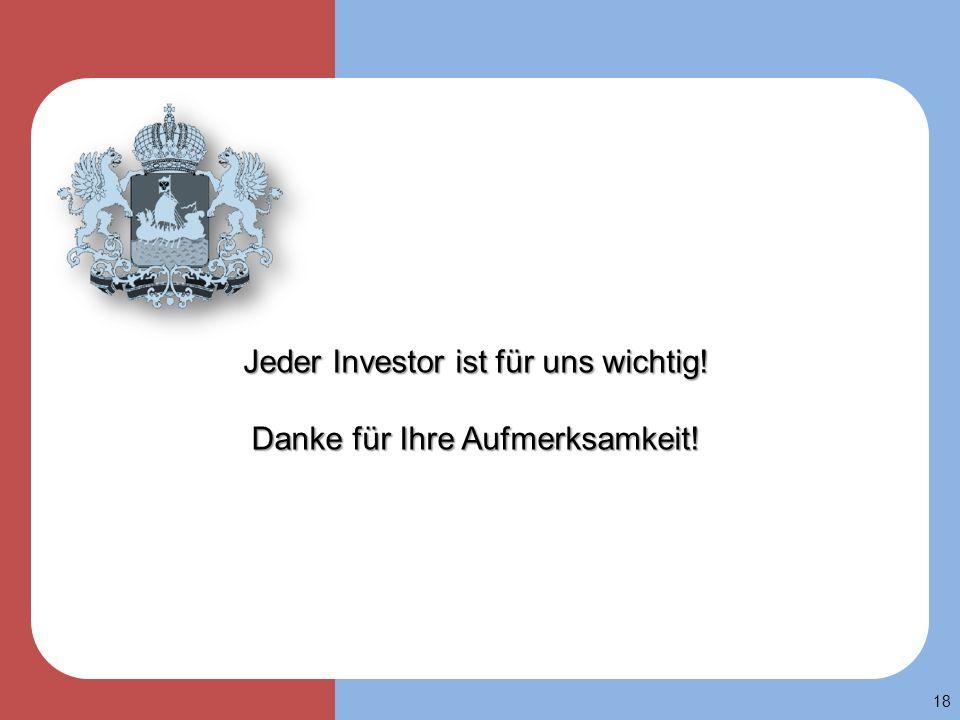 18 Jeder Investor ist für uns wichtig! Danke für Ihre Aufmerksamkeit!
