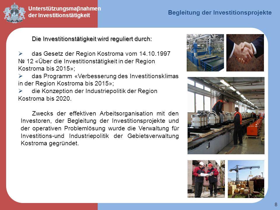 8 Unterstützungsmaβnahmen der Investitionstätigkeit Die Investitionstätigkeit wird reguliert durch: das Gesetz der Region Kostroma vom 14.10.1997 12 «
