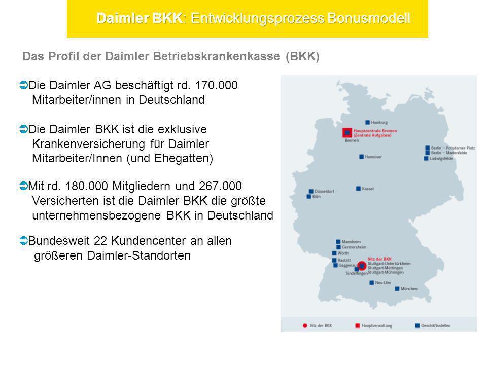 Das Profil der Daimler Betriebskrankenkasse (BKK) Die Daimler AG beschäftigt rd. 170.000 Mitarbeiter/innen in Deutschland Die Daimler BKK ist die exkl