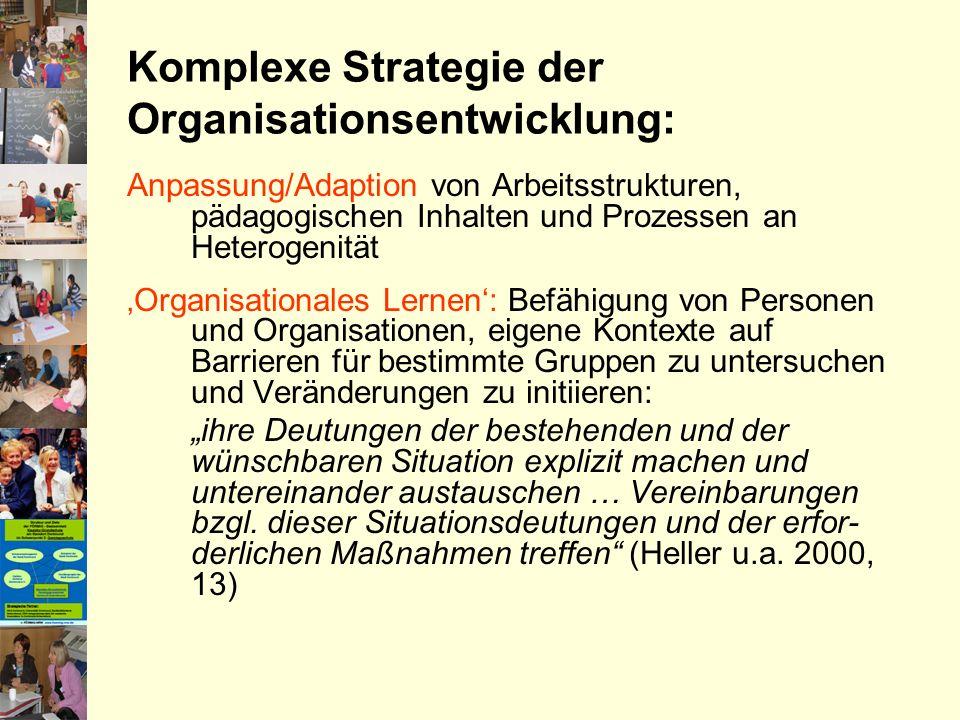 Komplexe Strategie der Organisationsentwicklung: Anpassung/Adaption von Arbeitsstrukturen, pädagogischen Inhalten und Prozessen an Heterogenität Organ