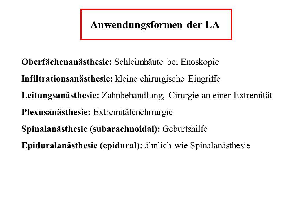 Anwendungsformen der LA Oberfächenanästhesie: Schleimhäute bei Enoskopie Infiltrationsanästhesie: kleine chirurgische Eingriffe Leitungsanästhesie: Za