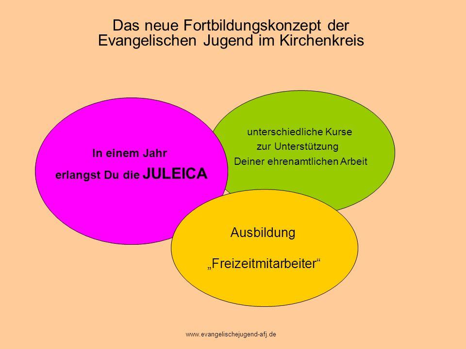 In einem Jahr erlangst Du die JULEICA Verschiedene Fortbildungen zur Unterstützung Deiner ehrenamtlichen Arbeit Das neue Konzept: www.evangelischejugend-afj.de