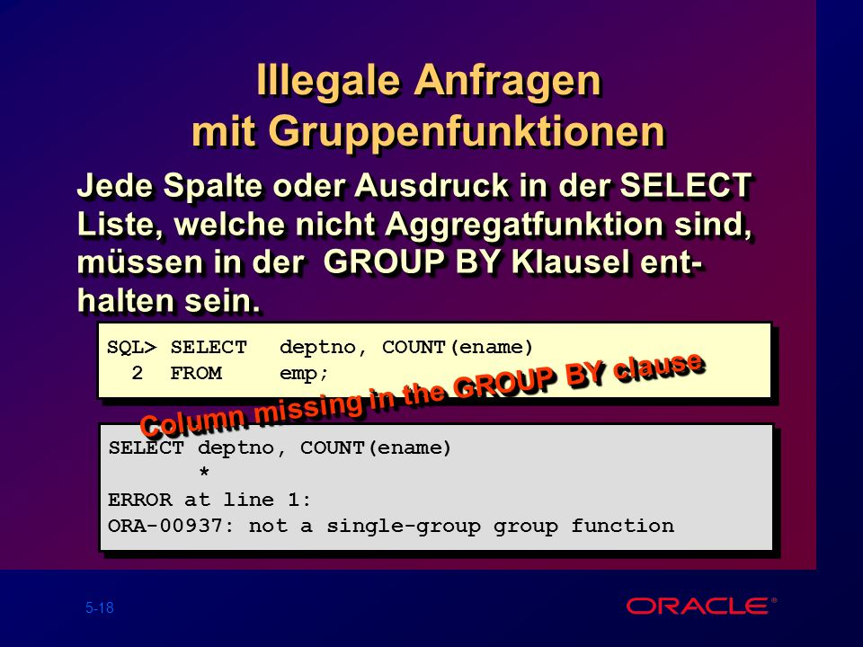 5-18 Illegale Anfragen mit Gruppenfunktionen Jede Spalte oder Ausdruck in der SELECT Liste, welche nicht Aggregatfunktion sind, müssen in der GROUP BY Klausel ent- halten sein.