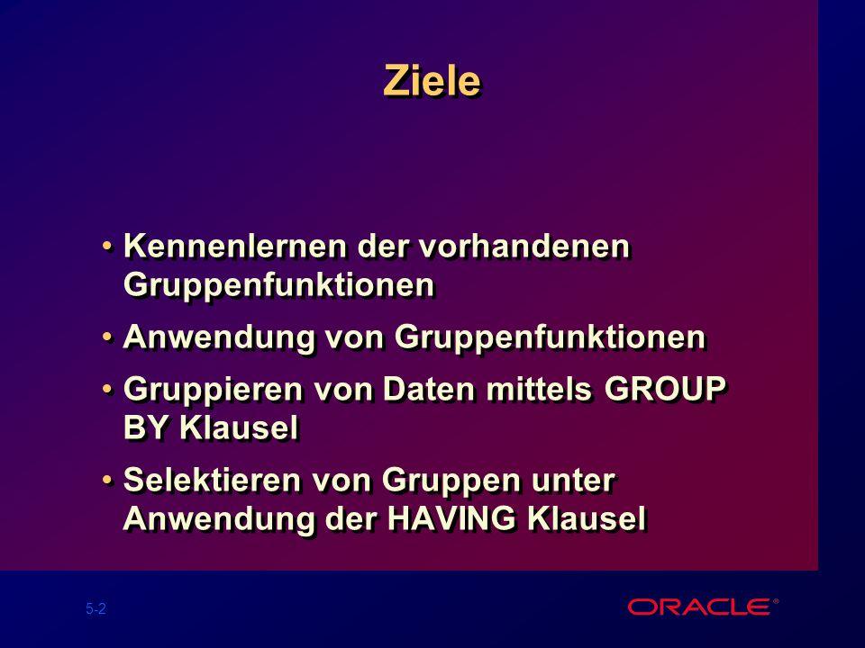 5-13 Gruppierung von Daten: GROUP BY Klausel SELECTcolumn, group_function(column) FROMtable [WHEREcondition] [GROUP BYgroup_by_expression] [ORDER BYcolumn]; Aufteilung von Zeilen in einer Tabelle in kleinere Gruppen durch Anwendung der GROUP BY Klausel.