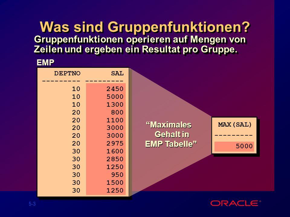 5-24 Schachtelung von Funktionen SQL> SELECT max(avg(sal)) 2 FROM emp 3 GROUP BY deptno; MAX(AVG(SAL)) ------------- 2916.6667 Wie groß ist das maximale Durchschnitts- gehalt in einer Abteilung?