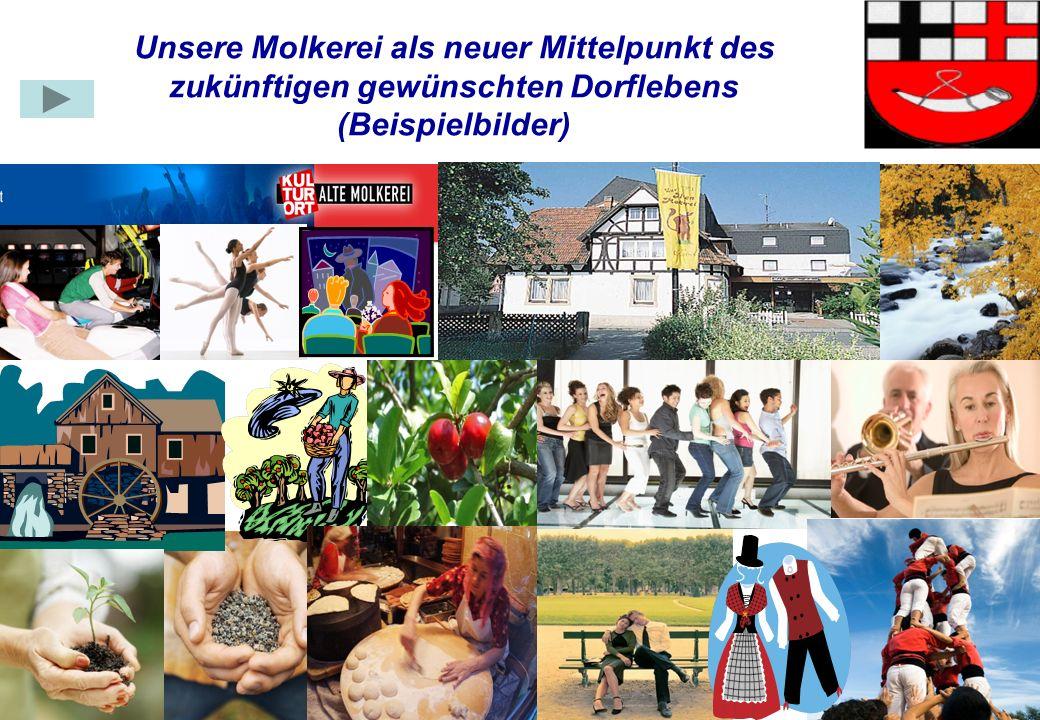 Gruppe Dorfleben4 Unsere Molkerei als neuer Mittelpunkt des zukünftigen gewünschten Dorflebens (Beispielbilder)