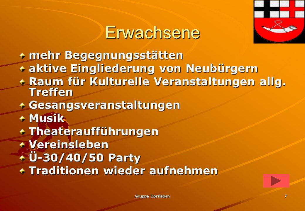 Gruppe Dorfleben6 Jugendliche Integration der Jugendliche in Vereinen Übernahme von Patenschaften (Aktivitäten/Projekte) Freizeitangebote auch für Jug