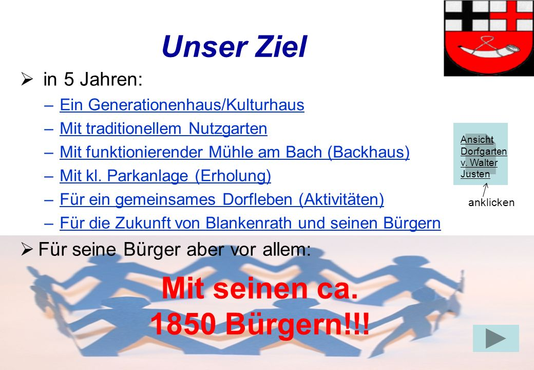 Gruppe Dorfleben9 Unser Ziel in 5 Jahren: –Ein Generationenhaus/Kulturhaus –Mit traditionellem Nutzgarten –Mit funktionierender Mühle am Bach (Backhaus) –Mit kl.