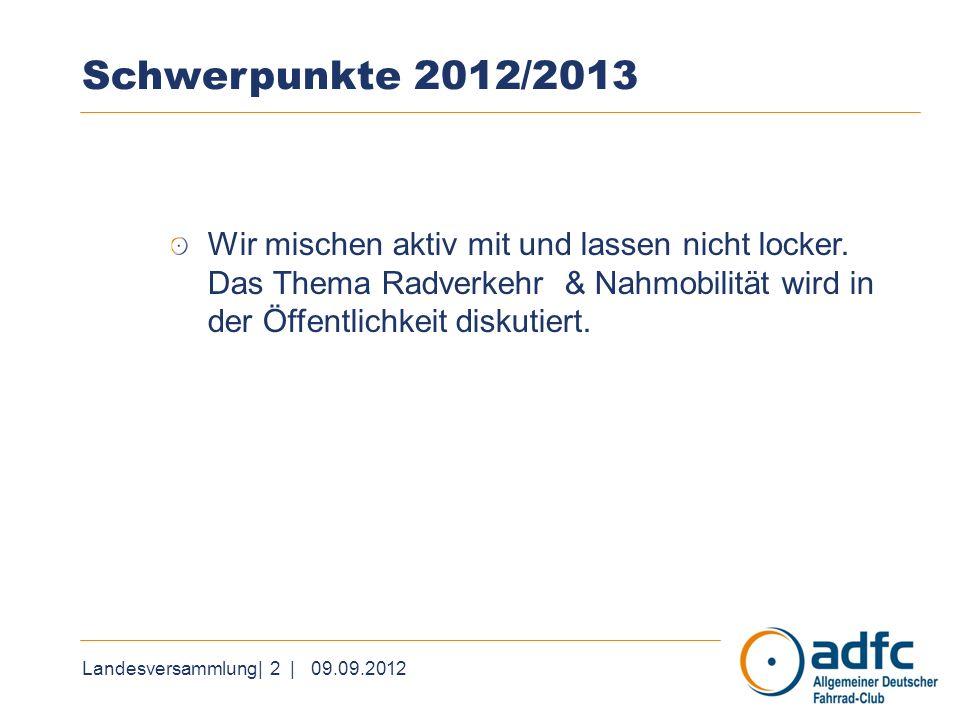 Landesversammlung| 2 | 09.09.2012 Schwerpunkte 2012/2013 Wir mischen aktiv mit und lassen nicht locker. Das Thema Radverkehr & Nahmobilität wird in de