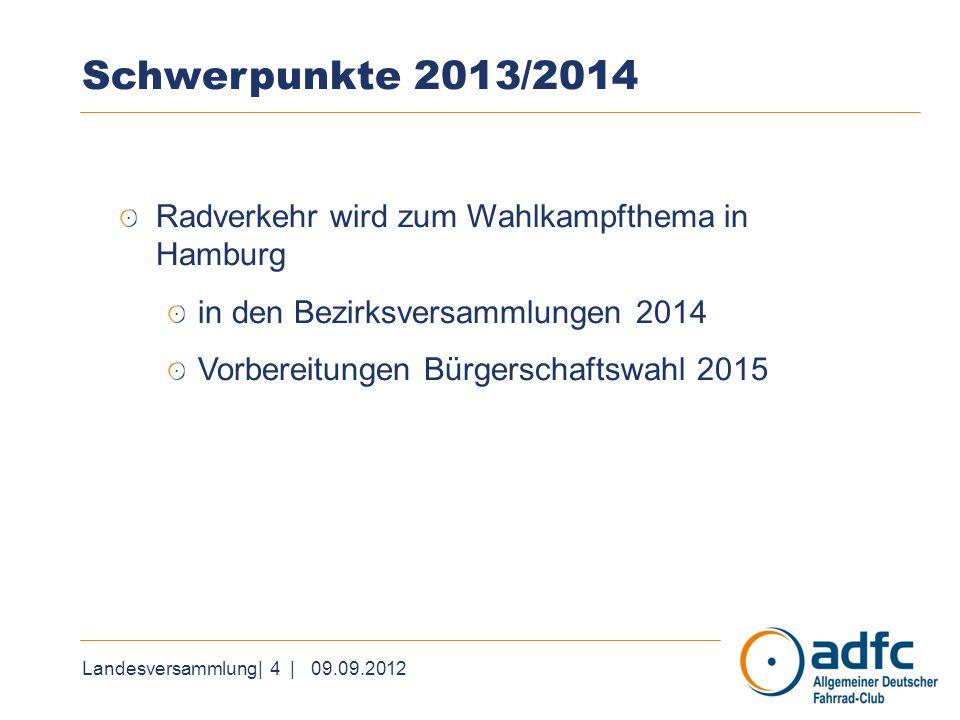 Landesversammlung| 4 | 09.09.2012 Schwerpunkte 2013/2014 Radverkehr wird zum Wahlkampfthema in Hamburg in den Bezirksversammlungen 2014 Vorbereitungen Bürgerschaftswahl 2015