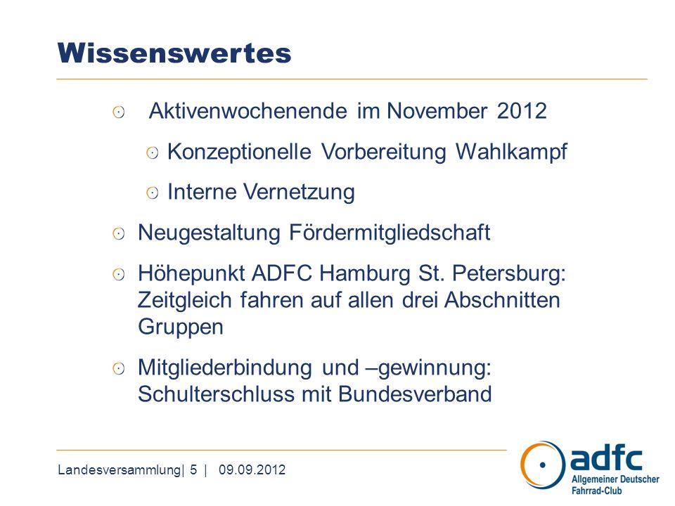 Landesversammlung| 5 | 09.09.2012 Wissenswertes Aktivenwochenende im November 2012 Konzeptionelle Vorbereitung Wahlkampf Interne Vernetzung Neugestalt