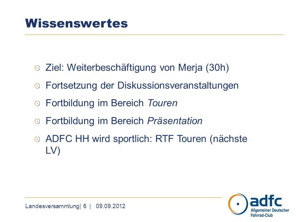 Landesversammlung| 6 | 09.09.2012 Wissenswertes Ziel: Weiterbeschäftigung von Merja (30h) Fortsetzung der Diskussionsveranstaltungen Fortbildung im Be