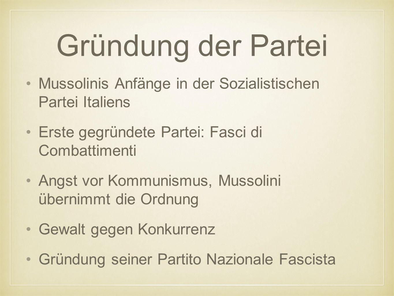 Gründung der Partei Mussolinis Anfänge in der Sozialistischen Partei Italiens Erste gegründete Partei: Fasci di Combattimenti Angst vor Kommunismus, Mussolini übernimmt die Ordnung Gewalt gegen Konkurrenz Gründung seiner Partito Nazionale Fascista
