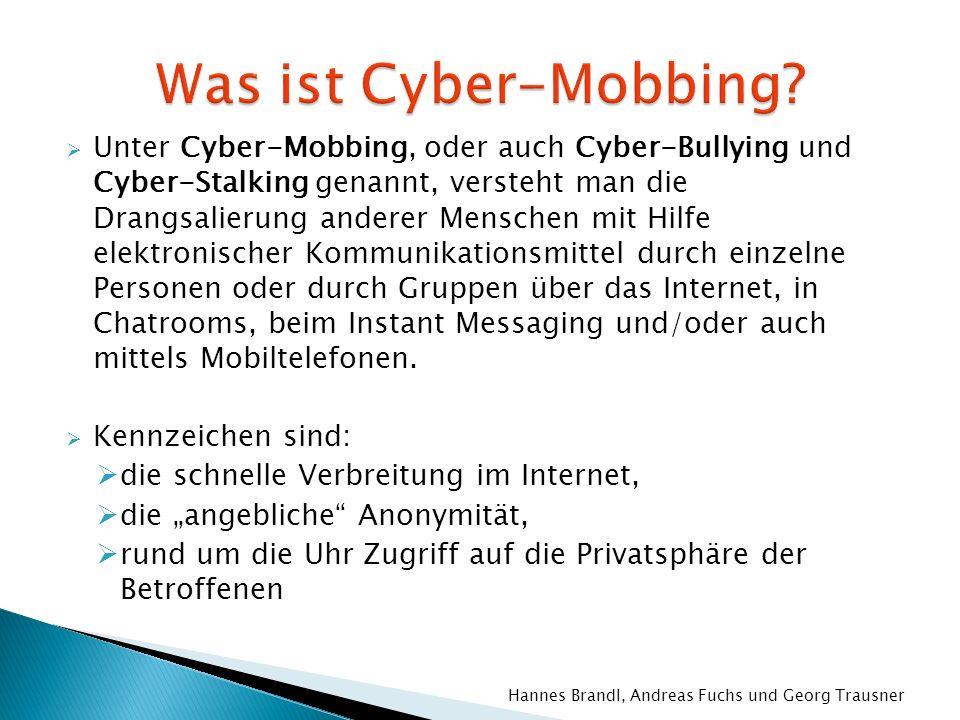 Unter Cyber-Mobbing, oder auch Cyber-Bullying und Cyber-Stalking genannt, versteht man die Drangsalierung anderer Menschen mit Hilfe elektronischer Ko