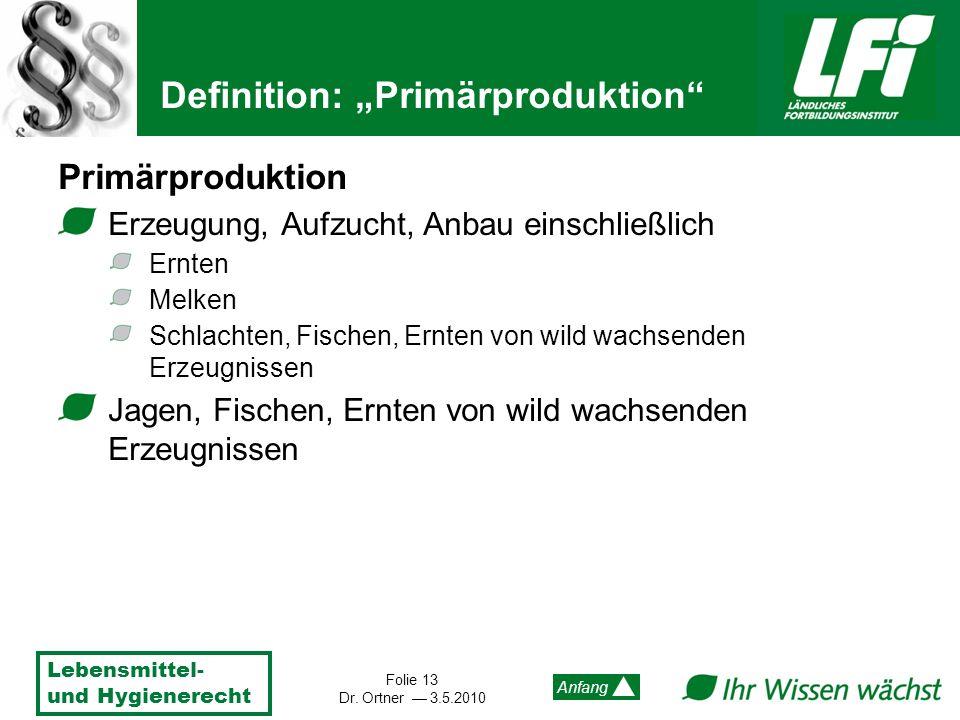 Lebensmittel- und Hygienerecht Folie 13 Dr. Ortner 3.5.2010 Anfang Definition: Primärproduktion Primärproduktion Erzeugung, Aufzucht, Anbau einschließ