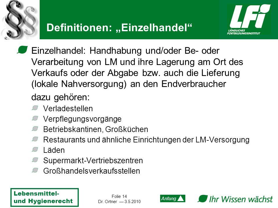 Lebensmittel- und Hygienerecht Folie 14 Dr. Ortner 3.5.2010 Anfang Definitionen: Einzelhandel Einzelhandel: Handhabung und/oder Be- oder Verarbeitung
