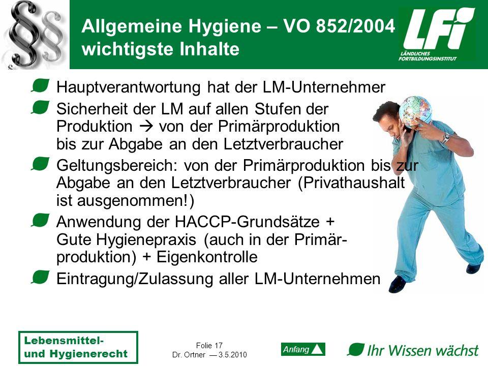 Lebensmittel- und Hygienerecht Folie 17 Dr. Ortner 3.5.2010 Anfang Hauptverantwortung hat der LM-Unternehmer Sicherheit der LM auf allen Stufen der Pr