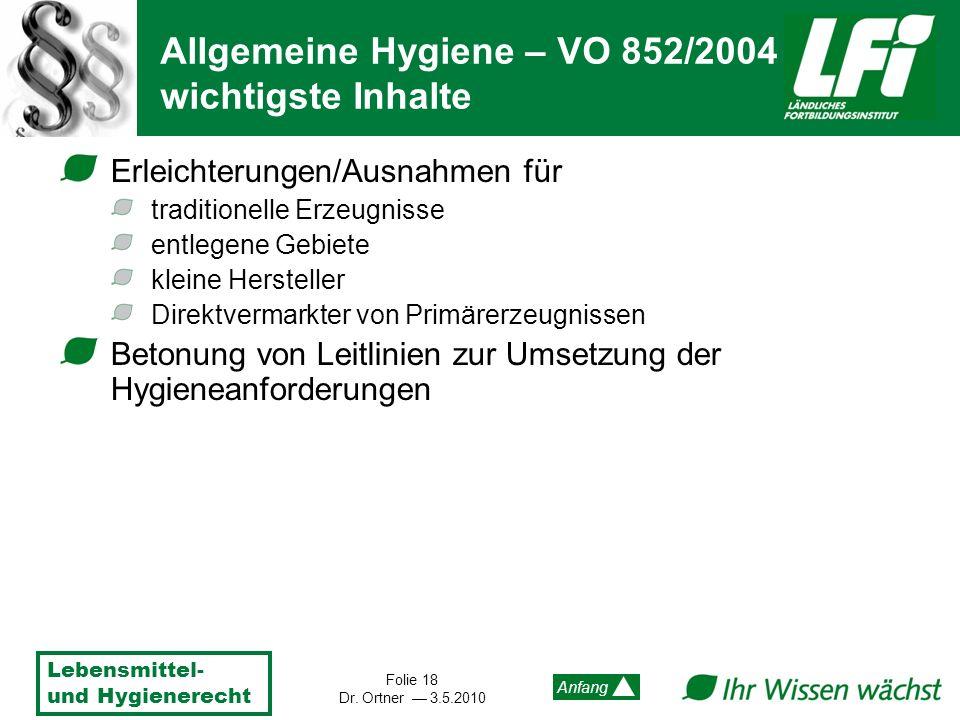 Lebensmittel- und Hygienerecht Folie 18 Dr. Ortner 3.5.2010 Anfang Erleichterungen/Ausnahmen für traditionelle Erzeugnisse entlegene Gebiete kleine He