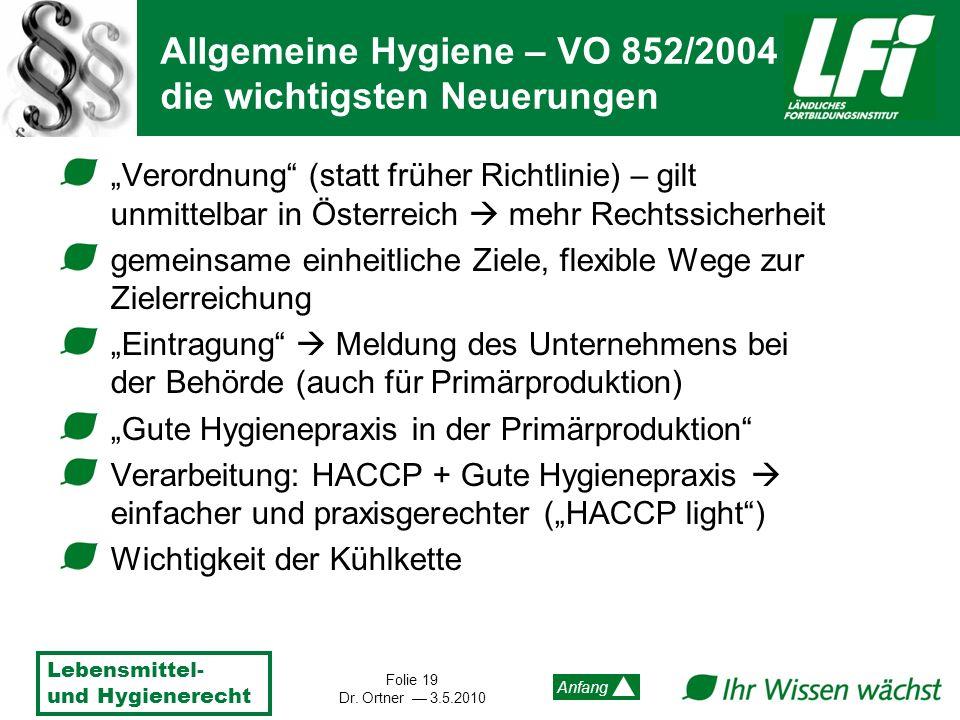 Lebensmittel- und Hygienerecht Folie 19 Dr. Ortner 3.5.2010 Anfang Verordnung (statt früher Richtlinie) – gilt unmittelbar in Österreich mehr Rechtssi