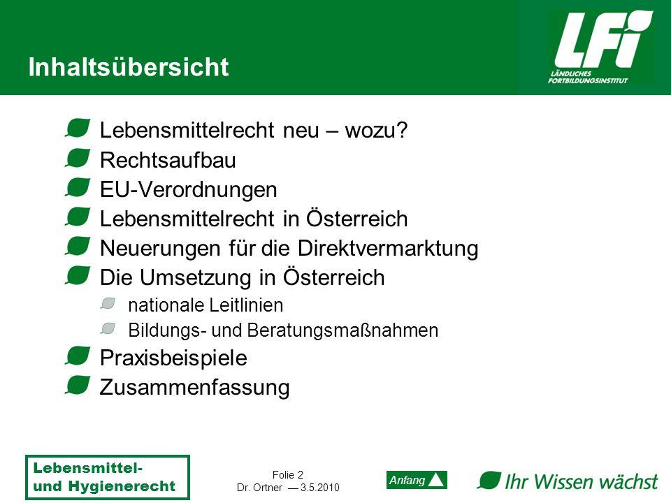 Lebensmittel- und Hygienerecht Folie 2 Dr. Ortner 3.5.2010 Anfang Inhaltsübersicht Lebensmittelrecht neu – wozu? Rechtsaufbau EU-Verordnungen Lebensmi