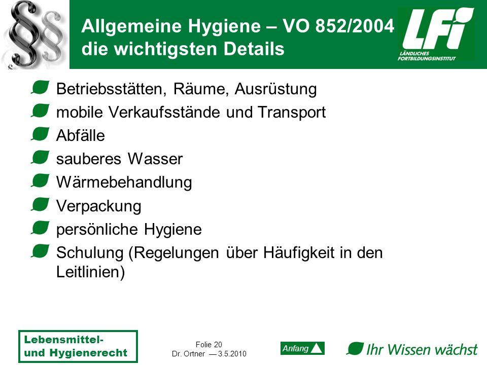Lebensmittel- und Hygienerecht Folie 20 Dr. Ortner 3.5.2010 Anfang Betriebsstätten, Räume, Ausrüstung mobile Verkaufsstände und Transport Abfälle saub