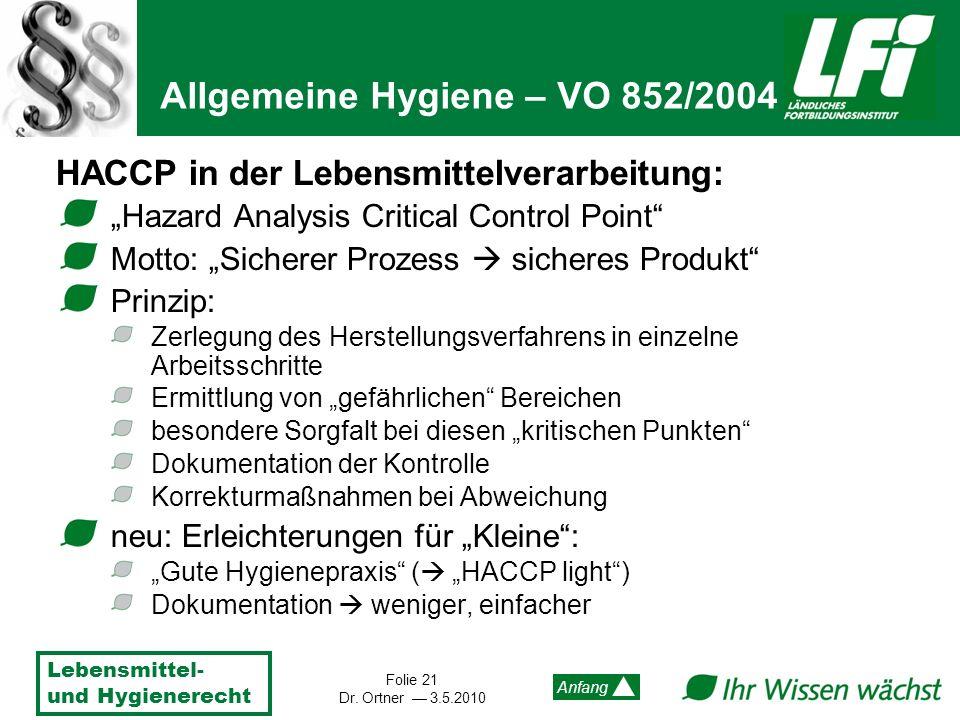 Lebensmittel- und Hygienerecht Folie 21 Dr. Ortner 3.5.2010 Anfang HACCP in der Lebensmittelverarbeitung: Hazard Analysis Critical Control Point Motto