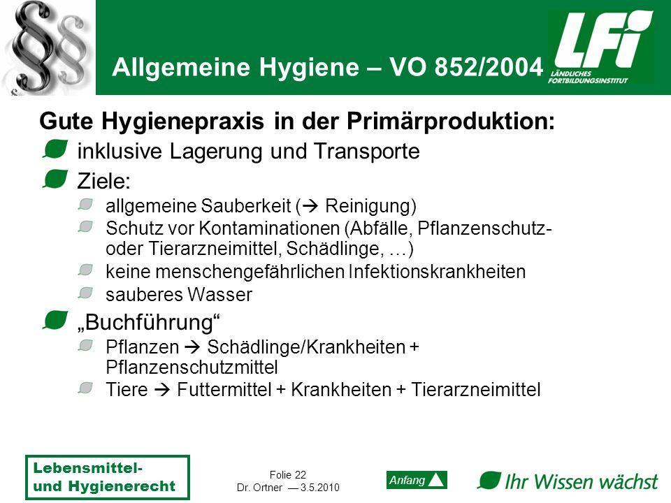 Lebensmittel- und Hygienerecht Folie 22 Dr. Ortner 3.5.2010 Anfang Gute Hygienepraxis in der Primärproduktion: inklusive Lagerung und Transporte Ziele