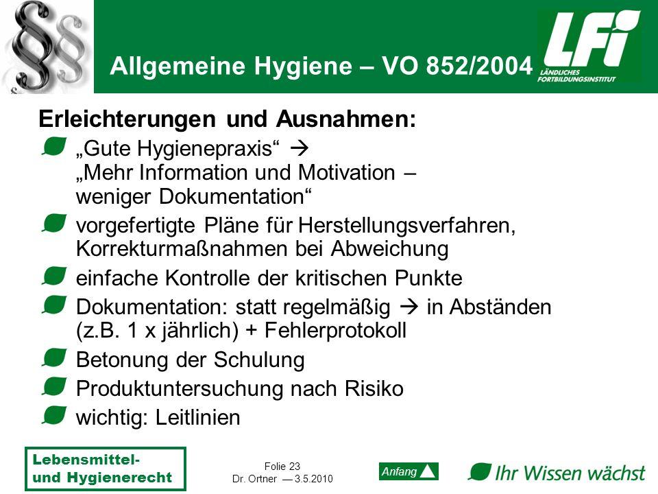 Lebensmittel- und Hygienerecht Folie 23 Dr. Ortner 3.5.2010 Anfang Erleichterungen und Ausnahmen: Gute HygienepraxisMehr Information und Motivation –