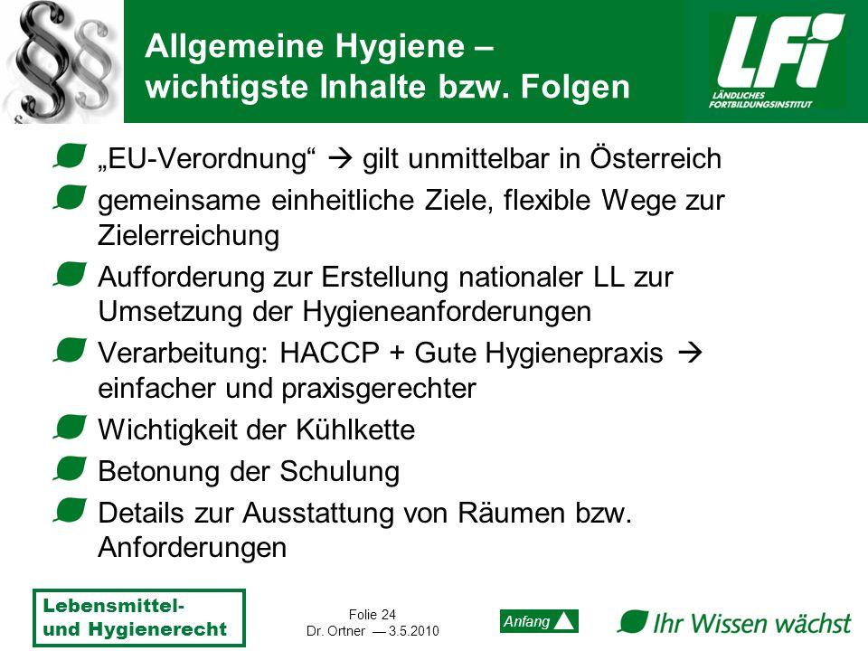 Lebensmittel- und Hygienerecht Folie 24 Dr. Ortner 3.5.2010 Anfang Allgemeine Hygiene – wichtigste Inhalte bzw. Folgen EU-Verordnung gilt unmittelbar