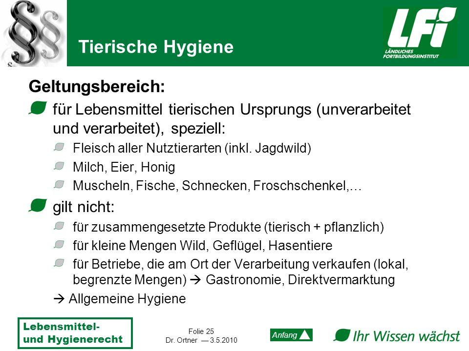 Lebensmittel- und Hygienerecht Folie 25 Dr. Ortner 3.5.2010 Anfang Geltungsbereich: für Lebensmittel tierischen Ursprungs (unverarbeitet und verarbeit
