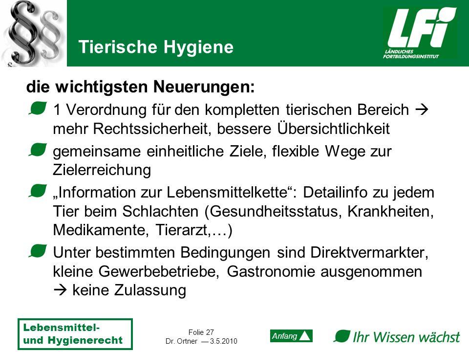 Lebensmittel- und Hygienerecht Folie 27 Dr. Ortner 3.5.2010 Anfang die wichtigsten Neuerungen: 1 Verordnung für den kompletten tierischen Bereich mehr
