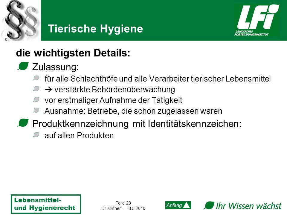 Lebensmittel- und Hygienerecht Folie 28 Dr. Ortner 3.5.2010 Anfang die wichtigsten Details: Zulassung: für alle Schlachthöfe und alle Verarbeiter tier