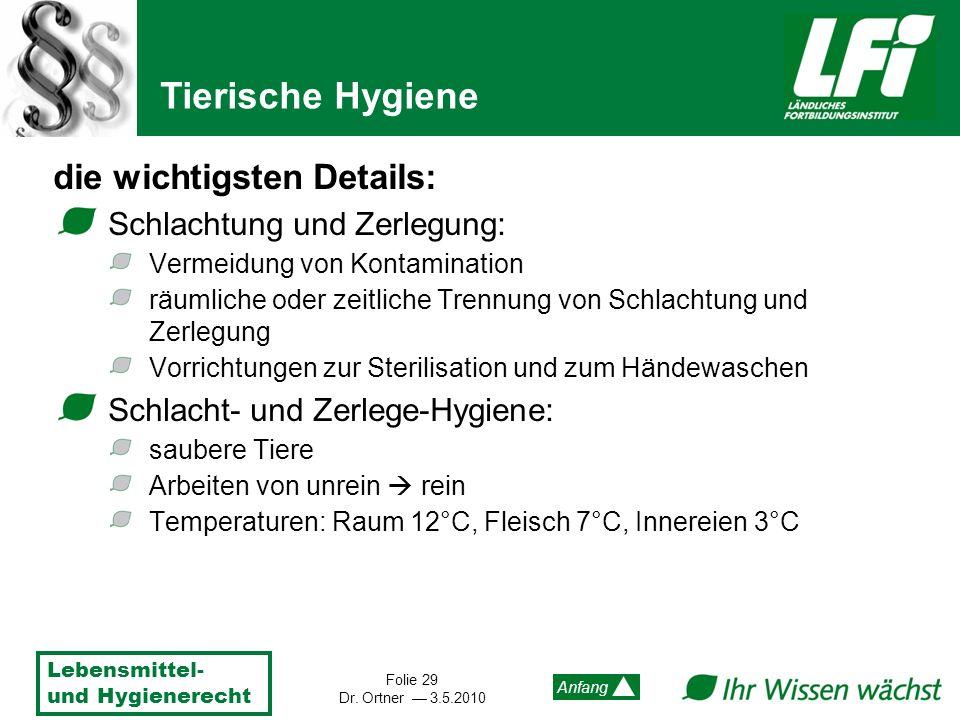 Lebensmittel- und Hygienerecht Folie 29 Dr. Ortner 3.5.2010 Anfang die wichtigsten Details: Schlachtung und Zerlegung: Vermeidung von Kontamination rä