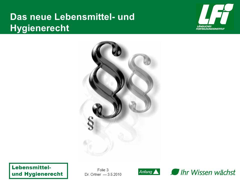 Lebensmittel- und Hygienerecht Folie 4 Dr.Ortner 3.5.2010 Anfang Wozu ein neues LM-Recht.