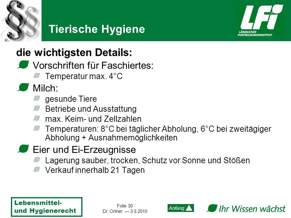 Lebensmittel- und Hygienerecht Folie 30 Dr. Ortner 3.5.2010 Anfang die wichtigsten Details: Vorschriften für Faschiertes: Temperatur max. 4°C Milch: g