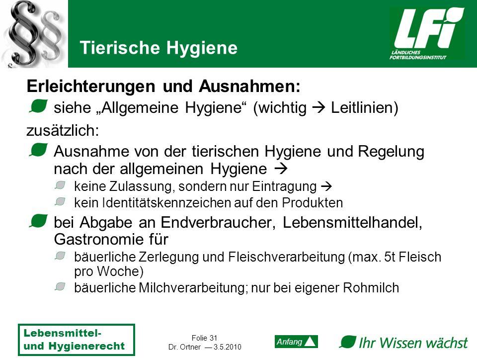 Lebensmittel- und Hygienerecht Folie 31 Dr. Ortner 3.5.2010 Anfang Erleichterungen und Ausnahmen: siehe Allgemeine Hygiene (wichtig Leitlinien) zusätz