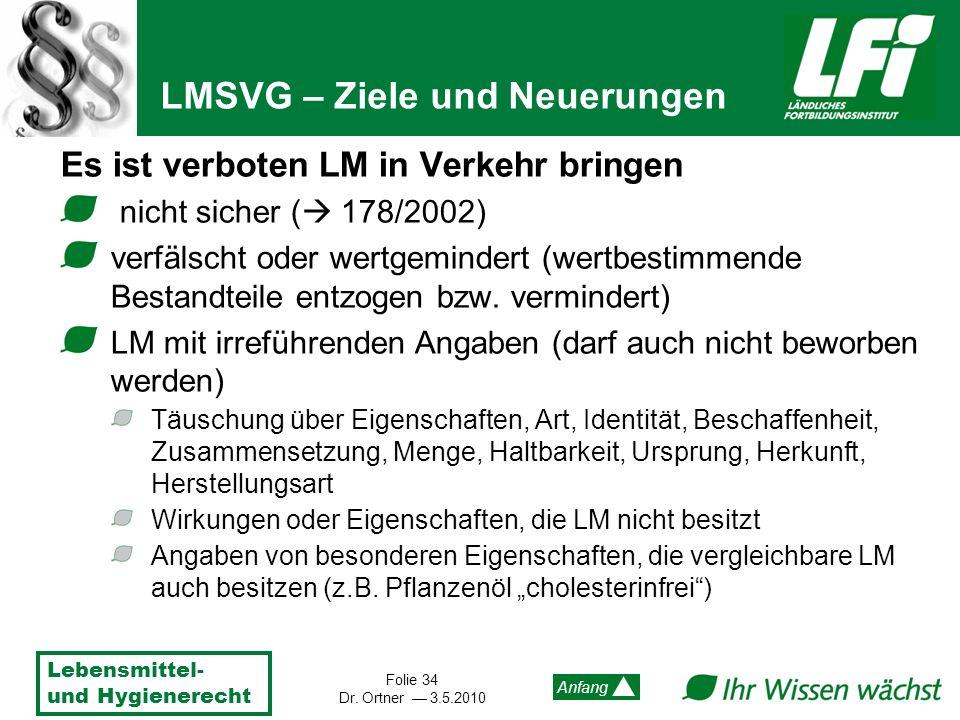 Lebensmittel- und Hygienerecht Folie 34 Dr. Ortner 3.5.2010 Anfang Es ist verboten LM in Verkehr bringen nicht sicher ( 178/2002) verfälscht oder wert