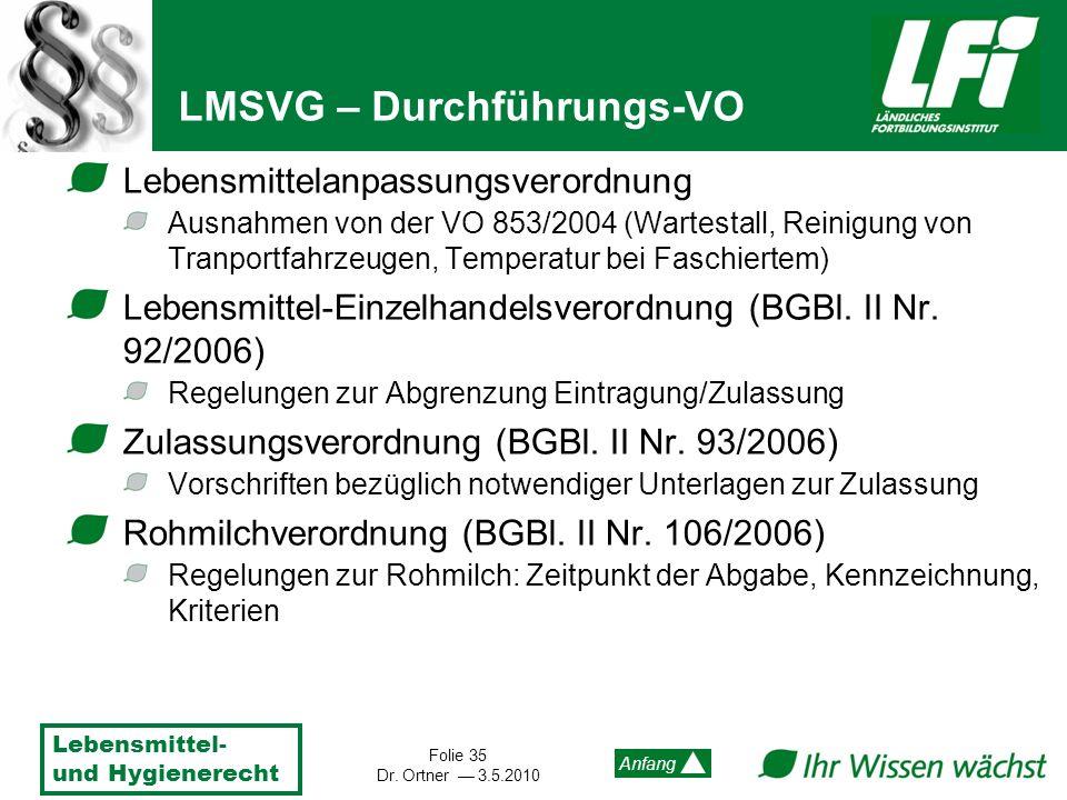 Lebensmittel- und Hygienerecht Folie 35 Dr. Ortner 3.5.2010 Anfang Lebensmittelanpassungsverordnung Ausnahmen von der VO 853/2004 (Wartestall, Reinigu